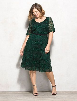 Plus Size Chevron Lace Belted Dress: slytherin
