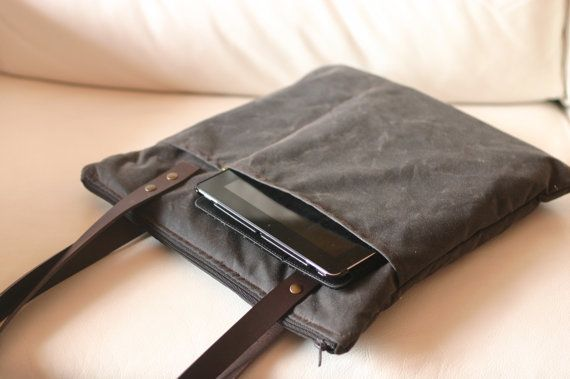 Waxed canvas bag - canvas laptop bag -  high 16 inches width 14,17