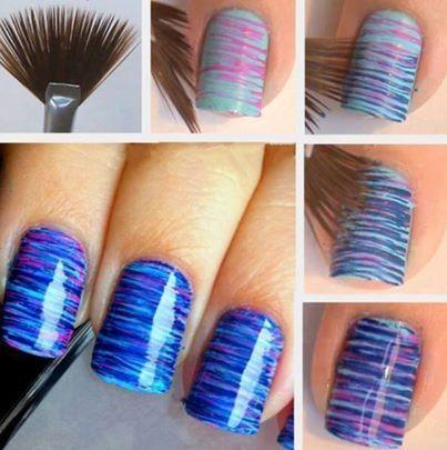 Nail art met waaier penceel. http://www.metoenailsforyou.nl/a-27946839/nail-art-penselen/15-delig-nail-art-set-pencelen-pink/
