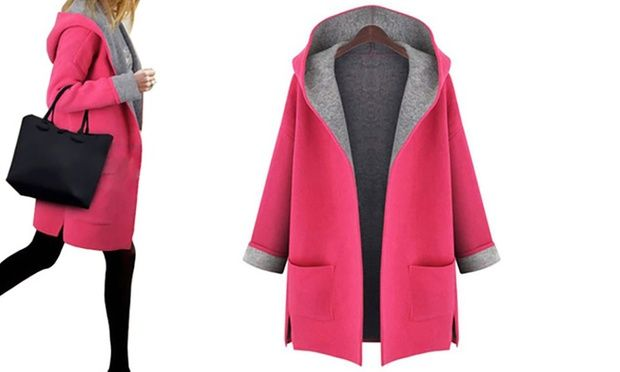 Great for casual wear and available in two eye-catching colours, this hooded open-front coat can be paired with leggings or trousers