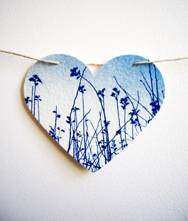 Large Meadow Heart Cyanotype Blue Bunting  £14.00