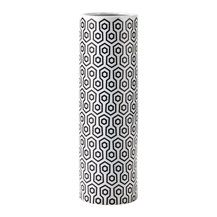 Vase en céramique noire et blanche H 70 cm COLEEN