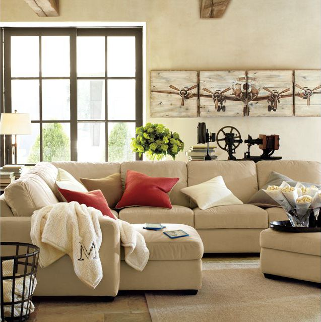 Carlisle Upholstered Armchair Down Blend Wrapped Cushions Premium Performance Basketweave Ivory Pottery Barn SectionalSectional CouchesComfy