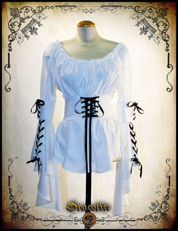 Elizabeth camicia abbigliamento medievale - camicia Steampunk per LARP, costume victorian e cosplay