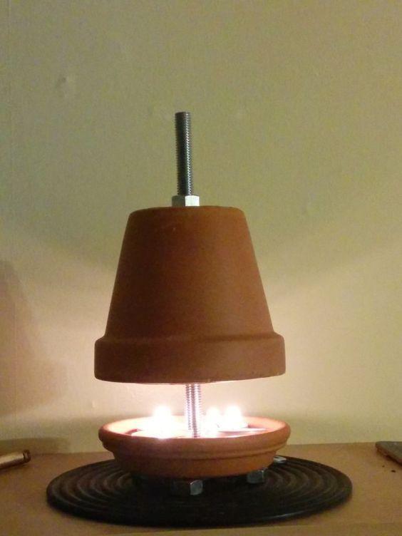 Terracotta plant pot candle heater survival life hacks and homesteads - Chauffage pot de fleur ...