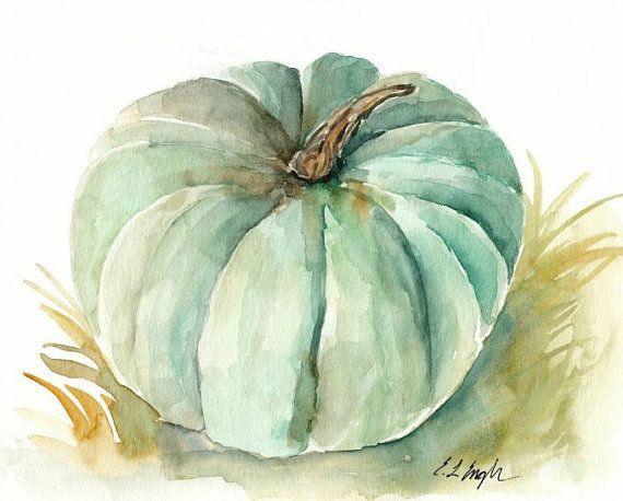 Mint Pumpkin, Original Watercolor Painting, 8x10, green, blue, fall decor, autumn, original art, squash, gourd