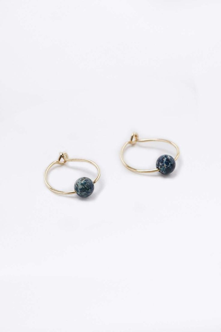 Lapis Ball Hoop Earrings