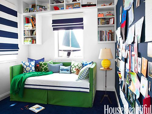 Boy's Room/RL Home lighthouse stripe on shades Trundle bed-custom