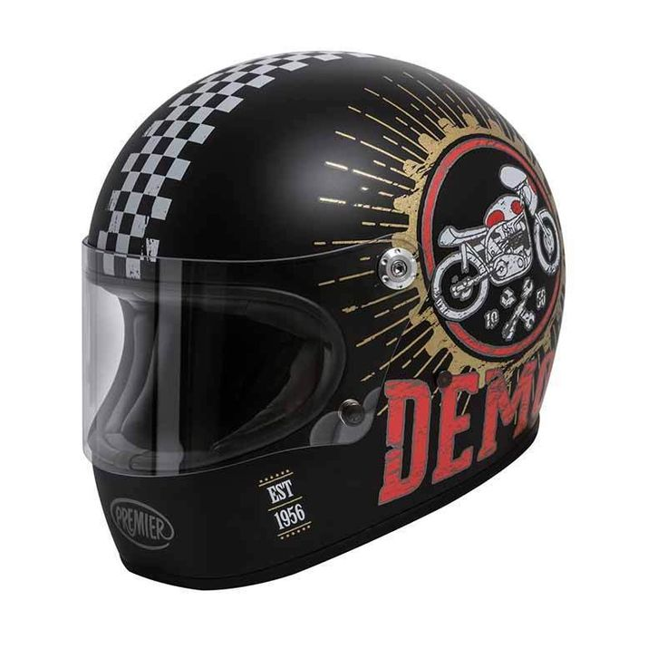 """Trophy Speed Demon 9 BM"" by PREMIER HELMETS.  Nice retro full face helmet with matt black finish and graphics. ECE standard motorcycle helmet."
