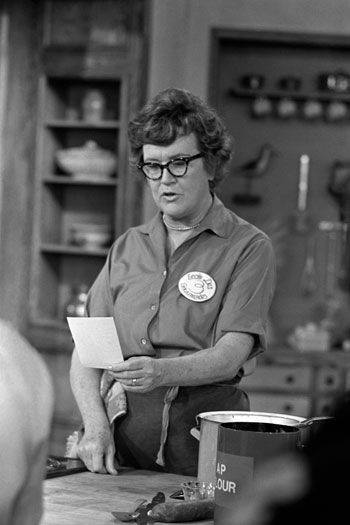 """Thank You, Julia Child! You gave inspiration to many! She didn't really start cooking until after she was 40. She was 6'2"""" - to tall for the WAC's or the WAVES, so worked for the OSS during WWII."""