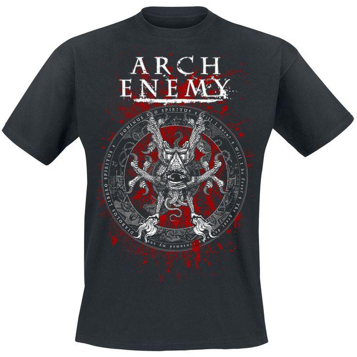 """Classica T-Shirt uomo nera """"Rise Of The Tyrant"""" degli #ArchEnemy con scollo tondo e ampia stampa frontale."""