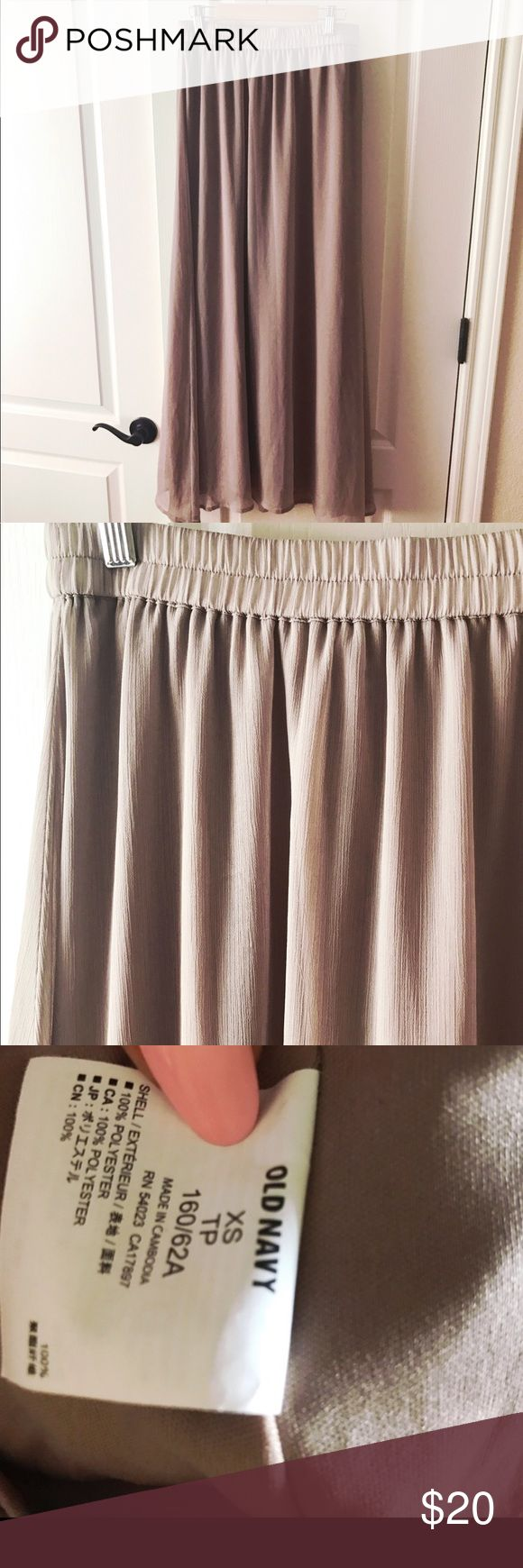Old navy maxi skirt Beautiful taupe colored maxi skirt! Perfect condition! Elasticized waist band and if fully lined. ❌ NO TRADES ❌ Old Navy Skirts Maxi