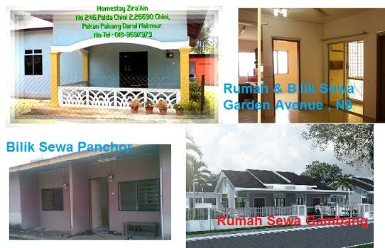 Bilik Sewa N9: 1. Panchor N9 Kg Melayu (3 bilik luar/macam chalet @ RM200) 2. Senawang Townhouse ( 2 bilik kecil @ RM200 master bedroom RM250) 3. Seremban 2 Apartment Ground Floor Garden Avenue ( 2 bilik kecil @ RM200 master bedroom RM250)Tel 0169088627 (En. Ramlan) ---------------Homestay & Rumah Sewa Pahang : 1. Guest Room (ruang tamu kongsi dengan Tuan Rumah)  2 bilik  1 bilik air - RM100 2. Homestay Chini pekan Pahang (Homestay besar RM180 - muat 15 orang  Homestay kecil RM150 - muat 5…