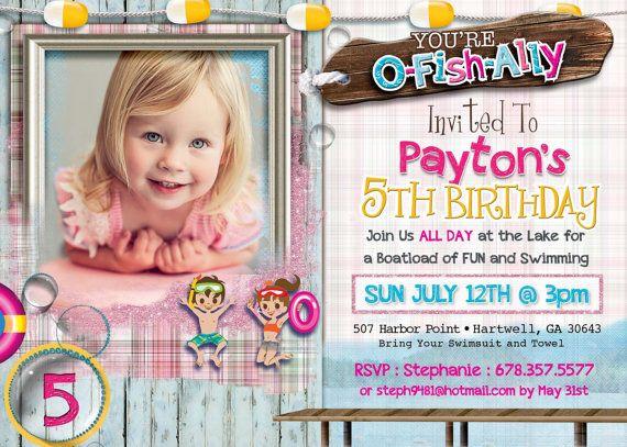 Lake Party Girl  Lake Party Birthday  by designtrunkinvites