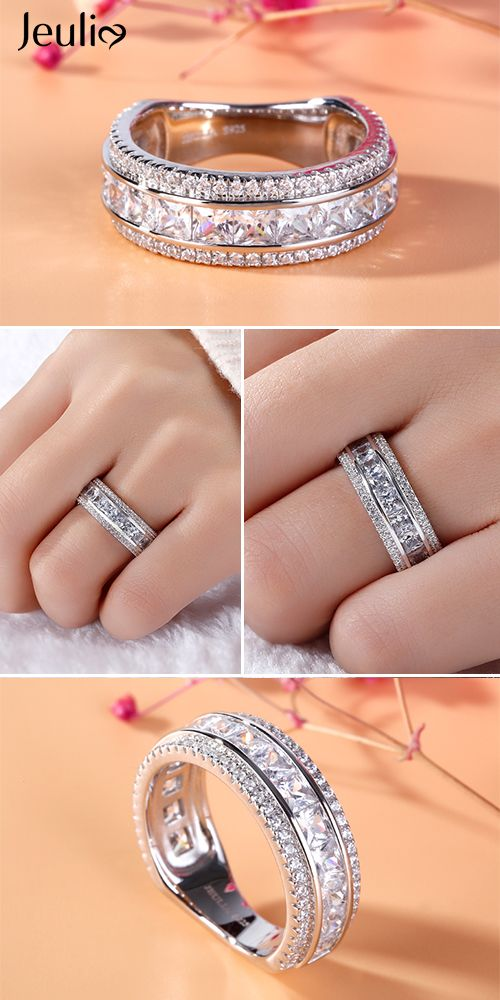 Simple Princess Cut Sterling Silver Women S Band In 2018 Stunning