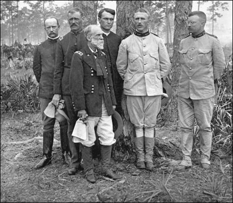 Group portrait of Colonel Theodore Roosevelt and other high ranking officials of the 1st U.S. Volunteer Cavalry Regiment: Tampa, Florida (1898)