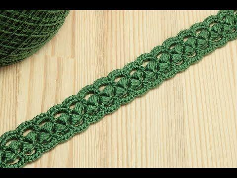 (5) Вязание крючком ленточного кружева на основе шнура из пышных столбиков Crochet - YouTube