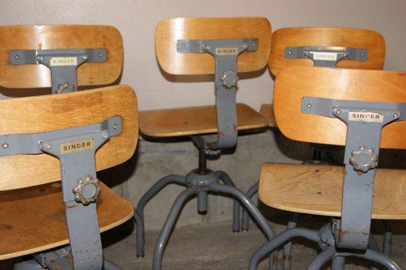 Vintage Industrial Singer Sewing Chair Stool Vintage