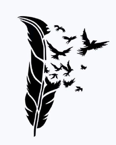 Feder mit Vögeln Vinyl Aufkleber – für Autos, Laptops, Aufkleber, Spiegel etc …   – Silhouettes  für Quilts und anderes