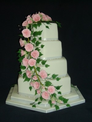 WED 276 Four Tier Hexagonal with Pink Roses