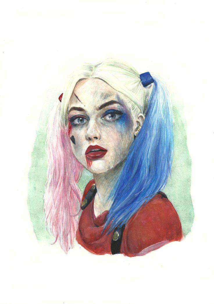 Harley Quinn - Suicide Esquad watercolor/Aquarela https://www.facebook.com/Leticia-Rusch-1508832942759701/?fref=nf