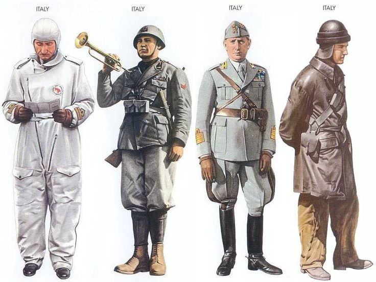 World War II Uniforms - Italy - 1940 June, Libya, Major, One Group, Italian AF Italy - 1940 Jan., Sicily, Corporal, Milizia Volontaria Per La Sicurezza Italy - 1940 June, Southern France, Colonel, 36th Inf. Regiment Italy - 1941 Jan., North Africa, Tankman, Ariete Division
