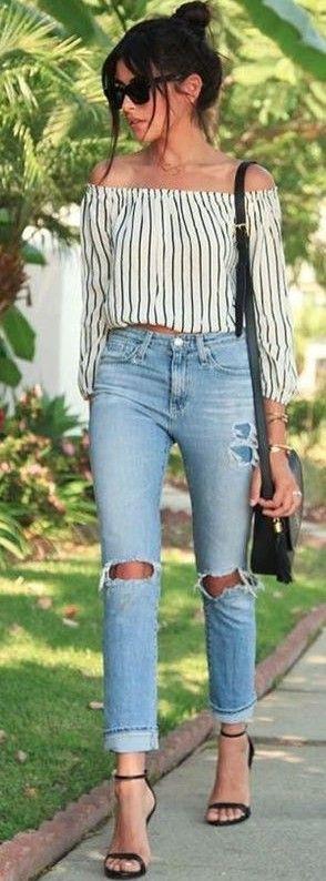 #summer #trending #outfits | Striped Bardot Crop + Denim
