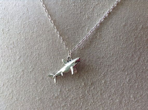 Shark Charm Necklace, silver shark necklace