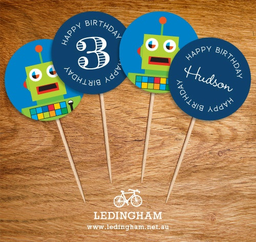 Robot Cupcake Toppers (Personalised DIY Printables).