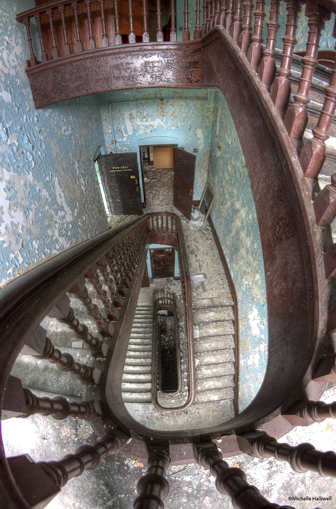 Hudson River Psychiatric Hospital (abandoned),  Poughkeepsie New York This is the stair case in the original building.