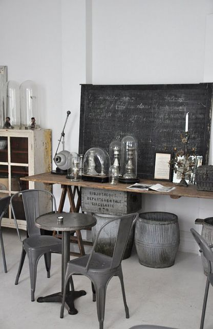 Industrial gray - love the chalkboard and all the glass domes!