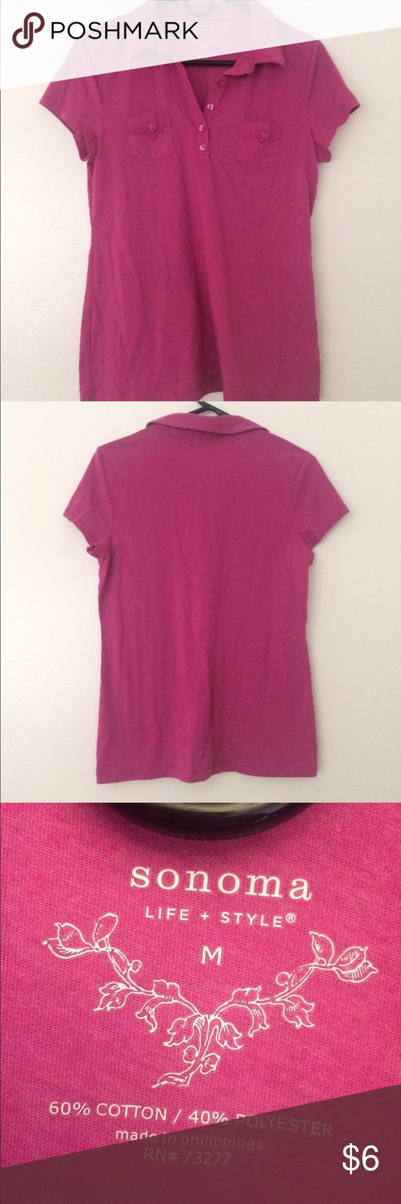 Sonoma pink short sleeve collar shirt. Used once. Sonoma pink short sleeve collar shirt. 60% cotton/ 40% polyester.  Shirt is a soft material, & only problem is the little fuzzy thing in the back of the shirt but it's not noticeable. Sonoma Tops
