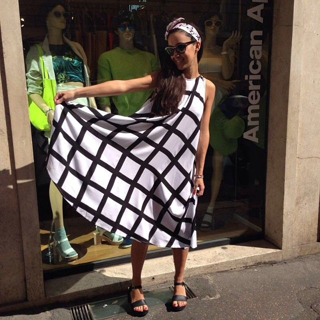 Valentina in Milan is wearing the new Nathalie Du Pasquier Gaza Print Rayon Tent Dress! #AmericanApparel