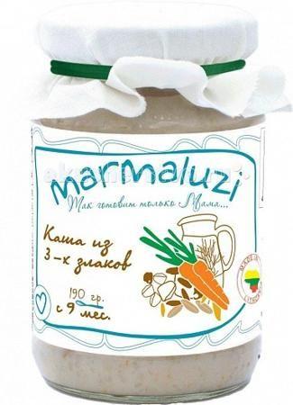 Marmaluzi Пюре каша из 3-х злаков с 9 мес. 190 г  — 100р. ------  Marmaluzi Пюре каша из 3-х злаков с натуральным коровьим молоком и сливочным маслом из экологически-чистых Литовских фермерских хозяйств обладает приятным сливочным вкусом и идеально подходит для введения прикорма детям с 9-ти месяцев.   В составе содержится натуральная лактоза.   Без клейковины.  Особенности: 100% натуральный продукт  без ароматизаторов, красителей и консервантов - без глютена  без добавления соли, крахмала…