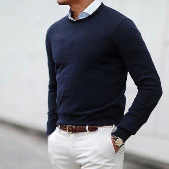 White chino, blue sweater