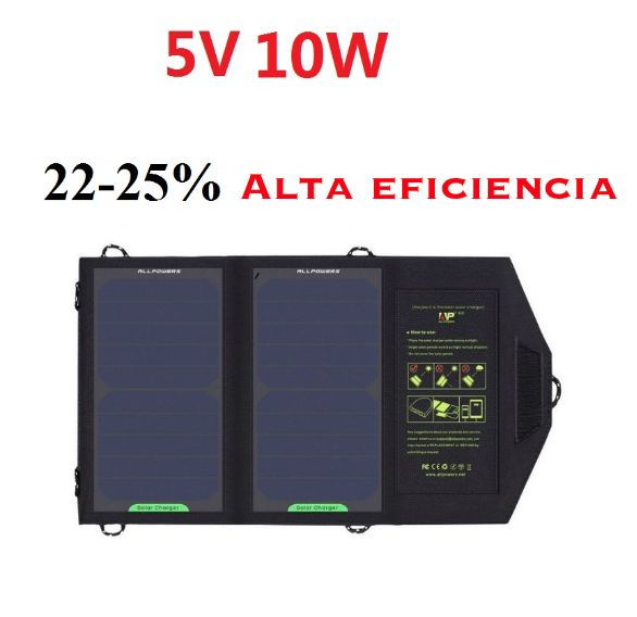 Cargador solar plegable 5V/10W para dispositivos USB móviles.