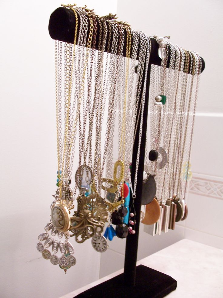 I can't say enough about these necklace jewelry stands. If we didn't have them, everything would be a big tangled mess. The shorter ones are great for bracelets too and they line the walls of our workshop!