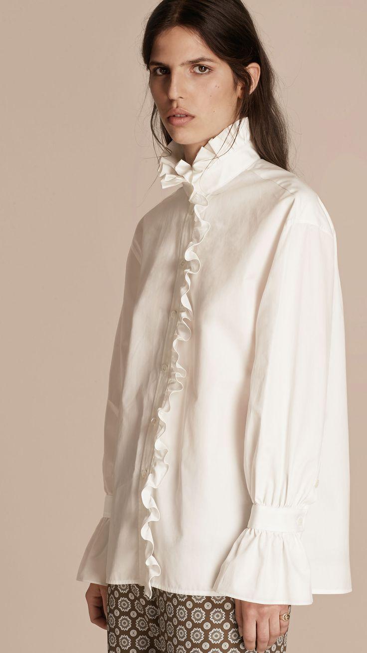 Camisa en algodón con volantes Blanco | Burberry
