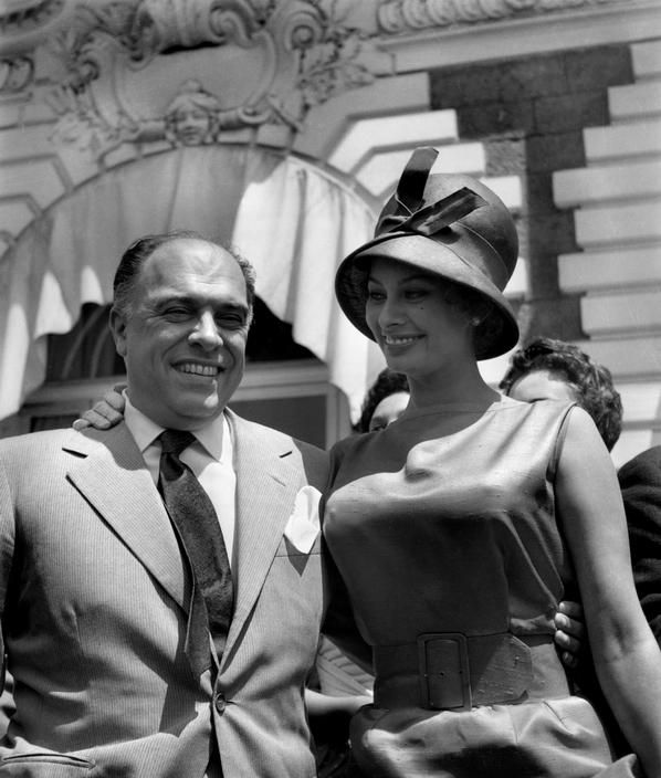 View image only Ara Guler FRANCE. 19th Cannes film festival. 1966. Carlo PONTI and Sophia LOREN.
