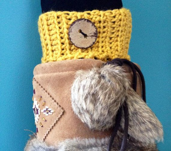 Crochet Ribbed Boot Cuffs Boot Toppers  Mustard by KnotSewKrazy, $24.99