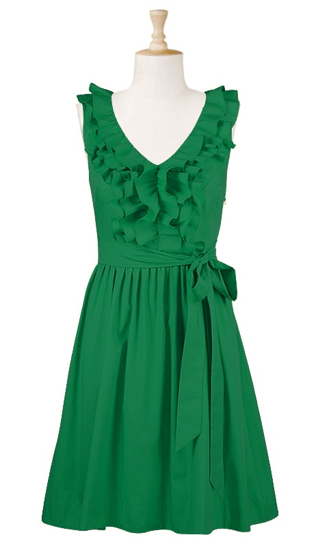 eShakti green ruffle dress. eShakti will personally customize their dresses to the length you want- so for us tall girls this is a GREAT great thing. You can also choose to have sleeves put on your dress- with several options to choose from...      Love this green dress- with a little cardigan sweater- I love green.