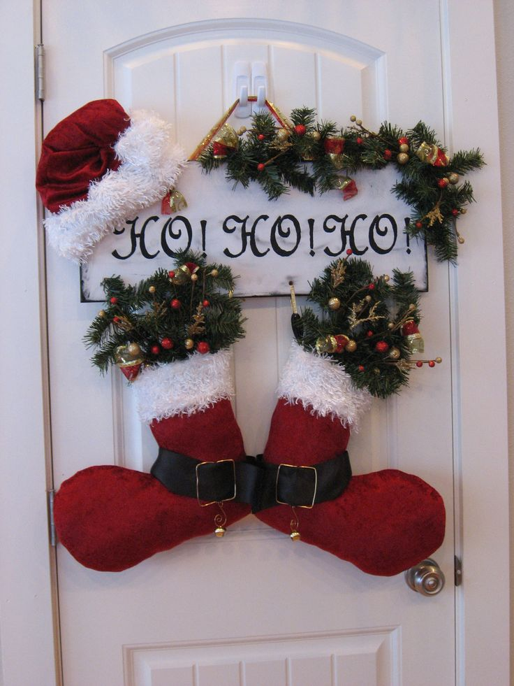 Handmade Christmas Decoration Door Hanger Santa Hat and Boots Says HO HO HO (sold) - RBCrafts