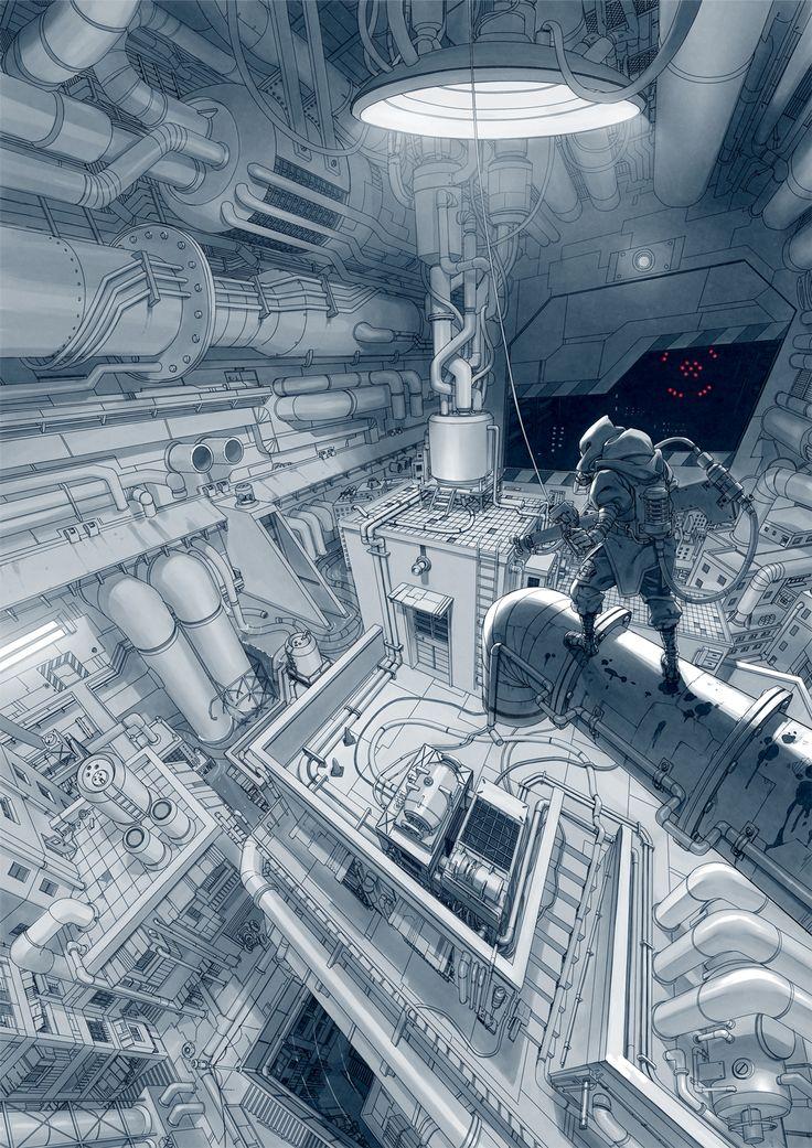 Sci-fi spaceship scene