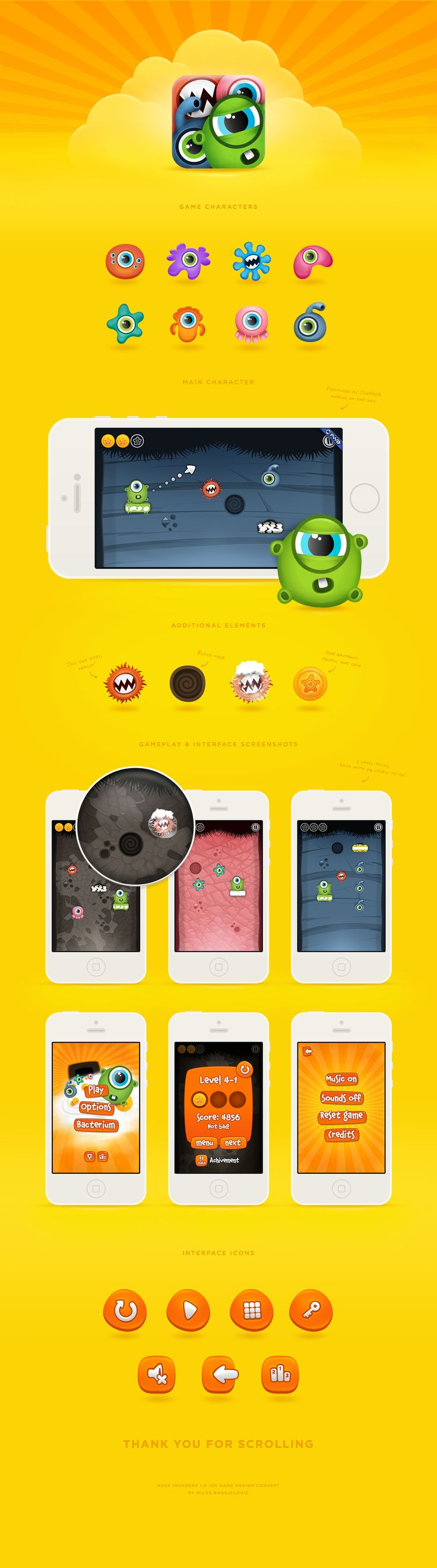 Nose Invaders game design concept #ios #game #design