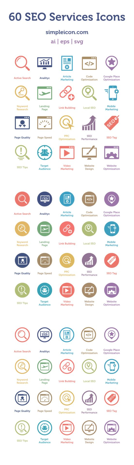 Web design freebies, 60 Free SEO Services Icons http://www.corsowebdesignerfreelance.it