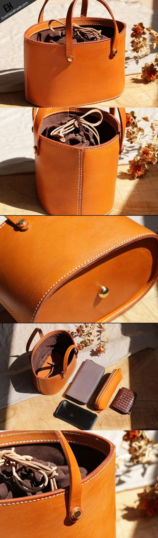 Handmade Leather bucket bag shopper bag for women leather