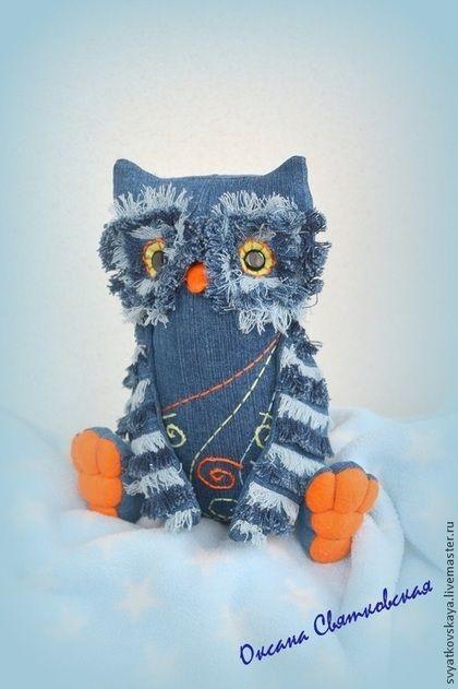 Jeans Owl / Игрушки животные, ручной работы. Ярмарка Мастеров - ручная работа. Купить Сова джинсовая, интерьерная текстильная игрушка. Handmade. Голубой
