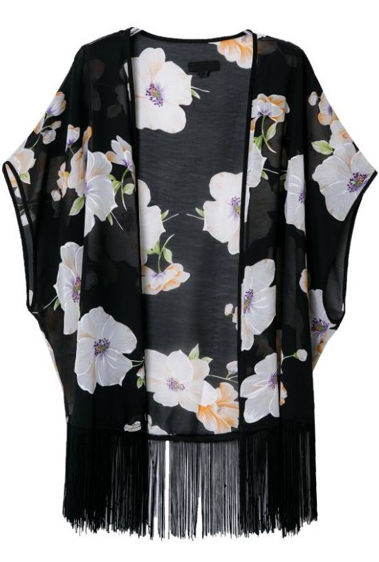 Kimono suelto floral flecos-negro 13.29
