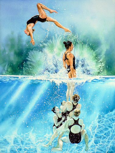 synchronized swimming team painting