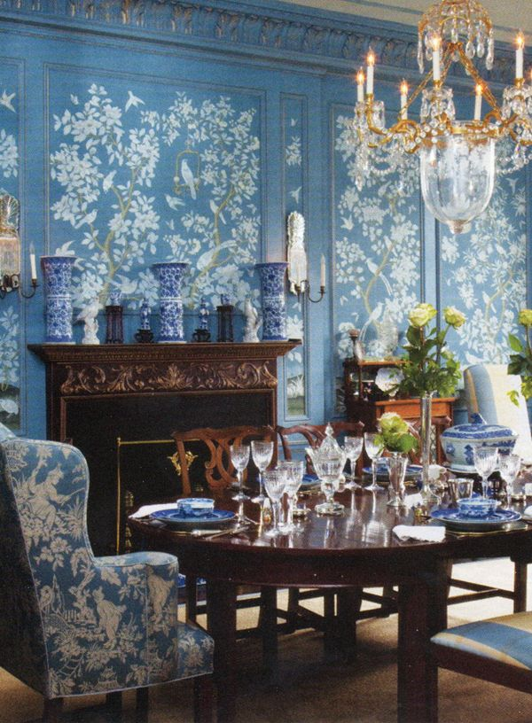 Beautiful Blue Dining Rooms: Blue And White Dining Room